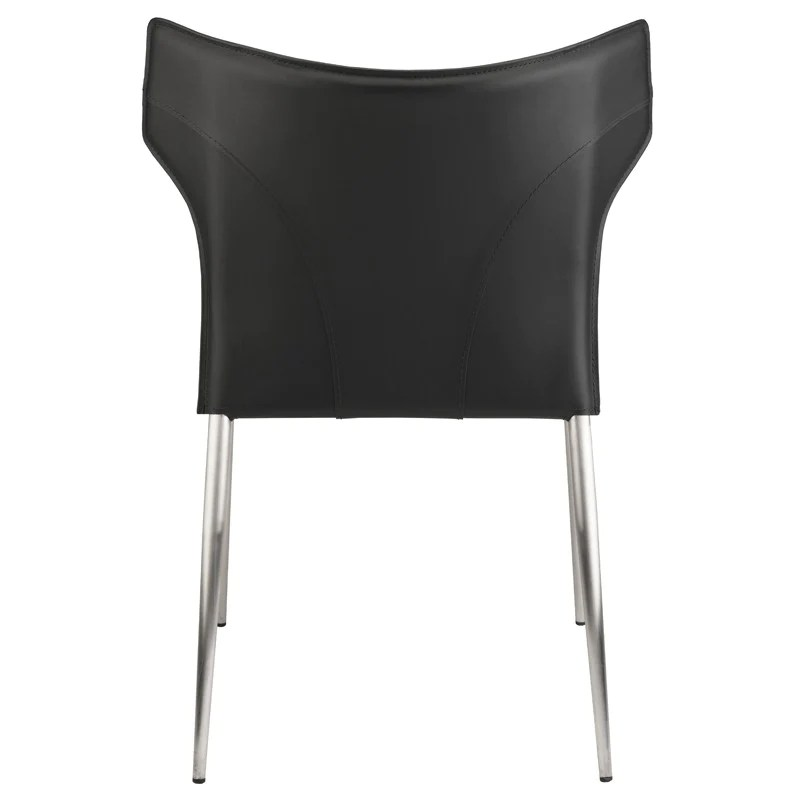 dining chairs with stainless steel legs bar height wayne chair in black w brushed design by nuevo