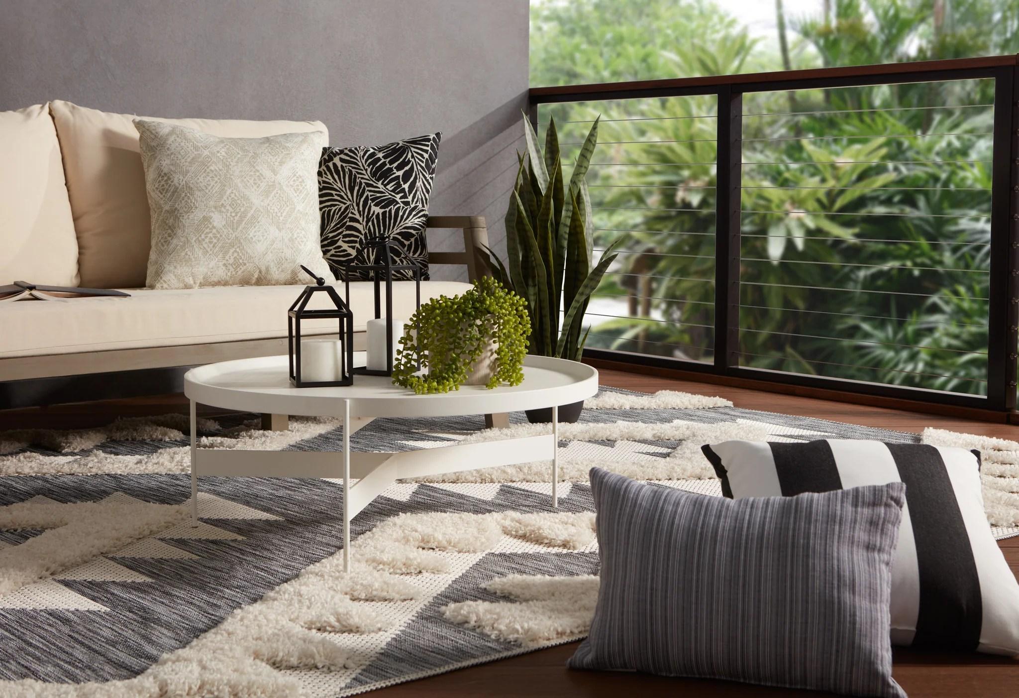 Makaya Indoor Outdoor Geometric Gray Cream Area Rug Burke Decor