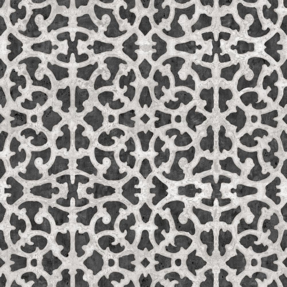 Scroll Gate Peel & Stick Wallpaper In Black And White