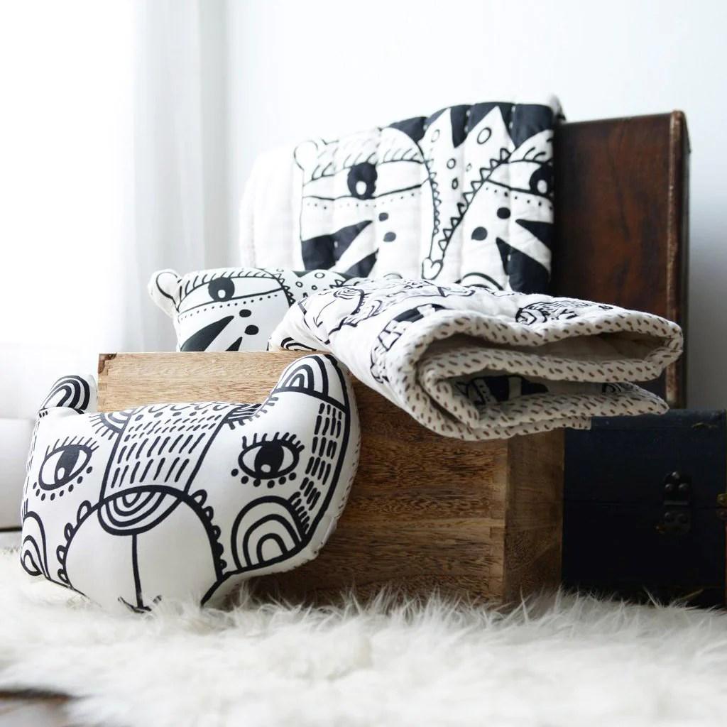 wee gallery organic throw pillow bear