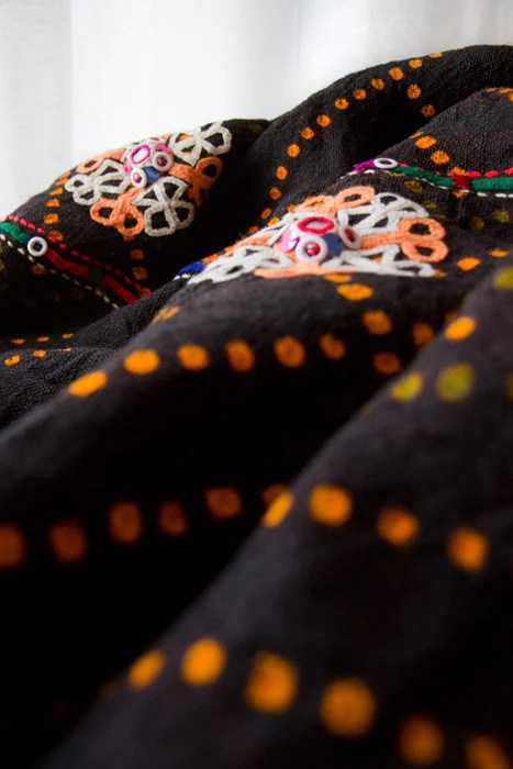 Rabari embroidery on tie & dyed handwoven fabric