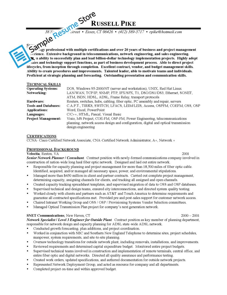 cisco network engineer sample resume