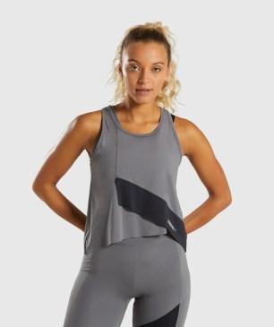 Gymshark Asymmetric Vest - Smokey Grey/Black 4