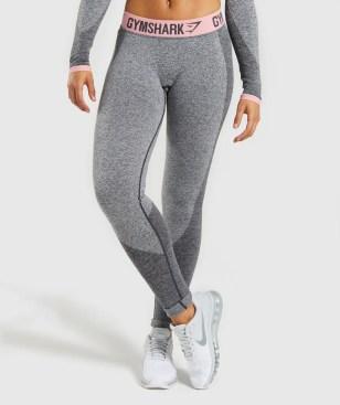 Gymshark Flex Leggings - Charcoal Marl/Peach Pink 4