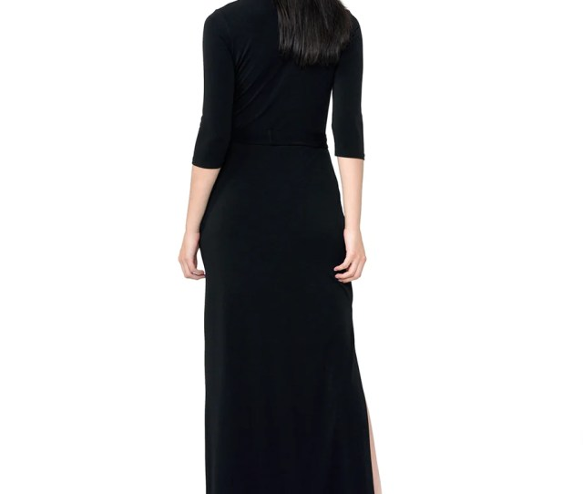 Perfect Wrap Maxi Dress In Black Crepe