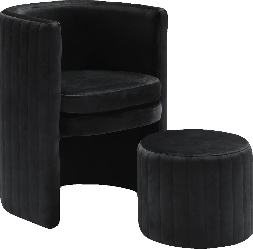 Chair And Ottoman Set Buy Meridian 555black Selena Black Velvet Accent Chair And Ottoman Set At Contemporary Furniture Warehouse