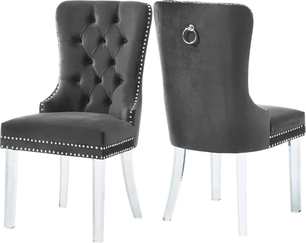 high back grey velvet dining chairs table and for sale cheap amazing deal on meridian 746grey c miley chair furniture set of 2 704831400038