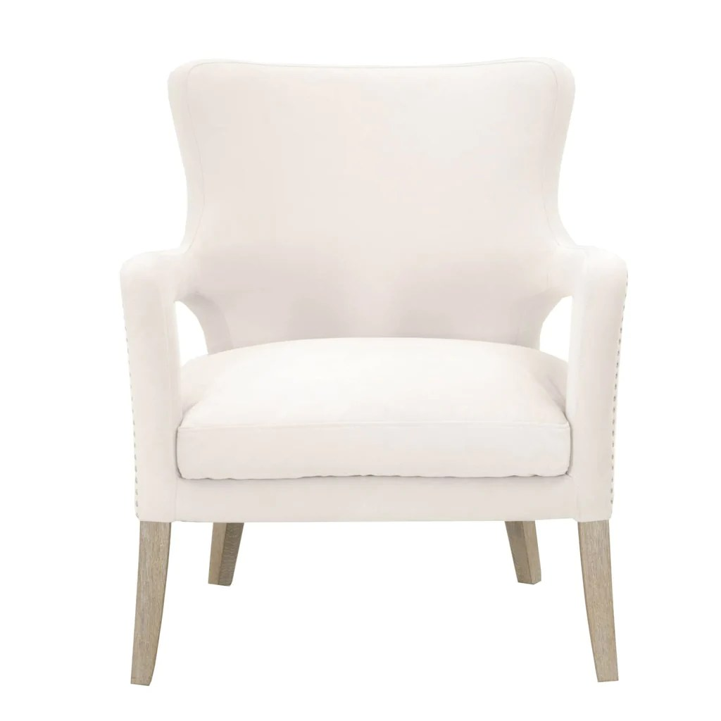 Small Club Chair Calvin Club Chair Cream Velvet Natural Gray Small Brushed Silver Nail Heads