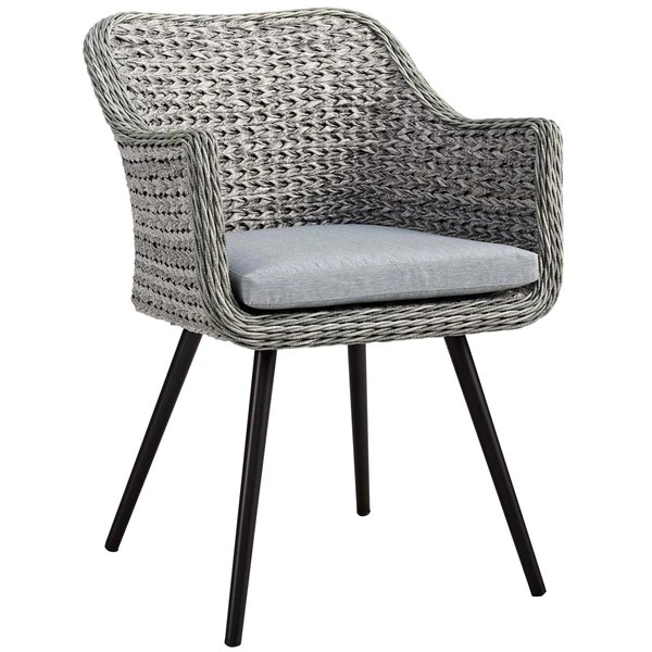 gray rattan dining chairs metal counter height modway outdoor on sale eei 3028 gry endeavor patio wicker armchair