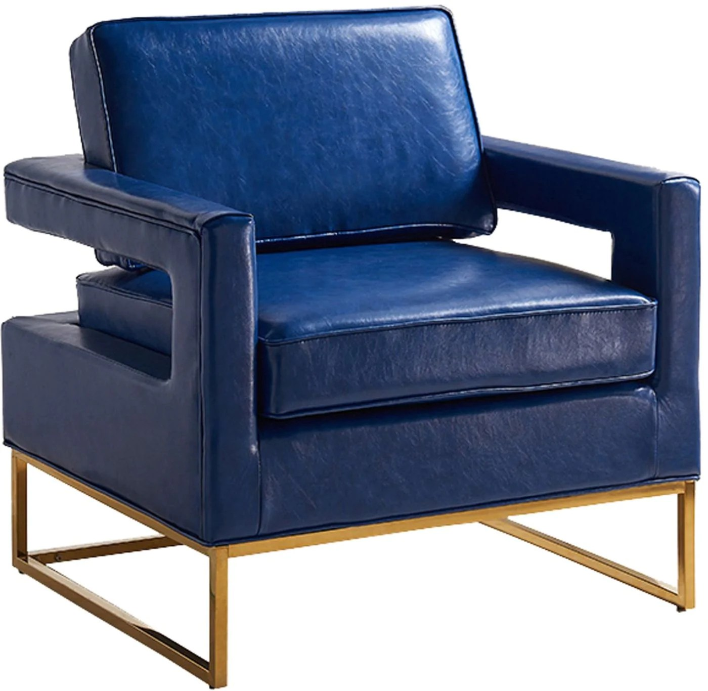 Navy Accent Chair Meridian Amelia Navy Leather Accent Chair At Contemporary