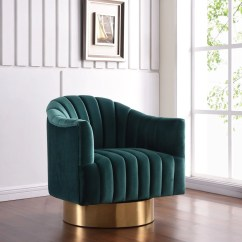 Green Velvet Swivel Chair Covers For Wedding Sale Meridian 520green Farrah Accent With Gold Base