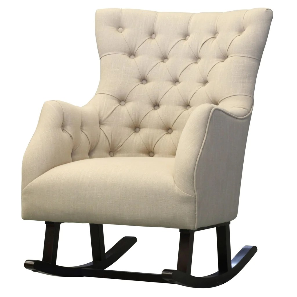 Rocking Accent Chairs Abigail Tufted Fabric Rocking Chair Flax