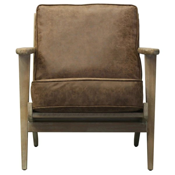 leather accent chairs red bar buy new pacific direct 3900024 albert pu chair nubuck brushed smoke frame chocolate