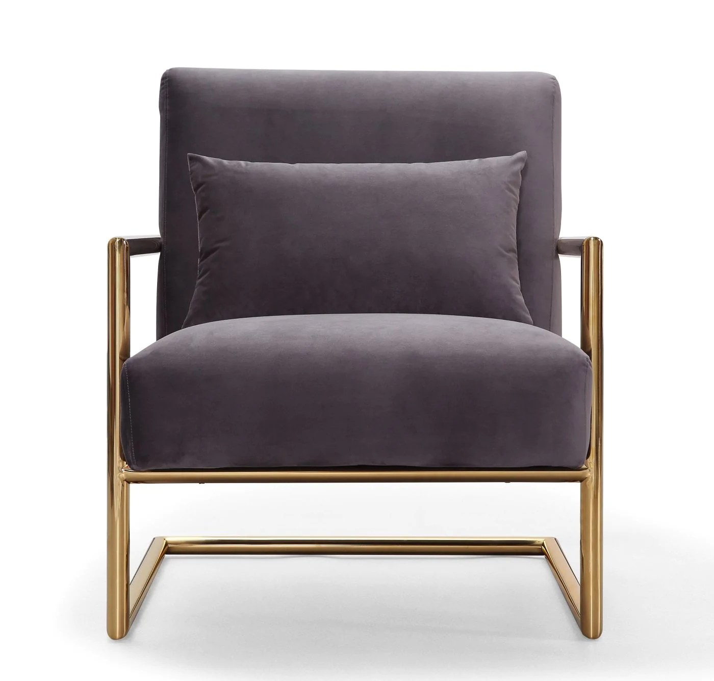 steel chair gold vintage designer chairs tov furniture s6142 elle grey velvet