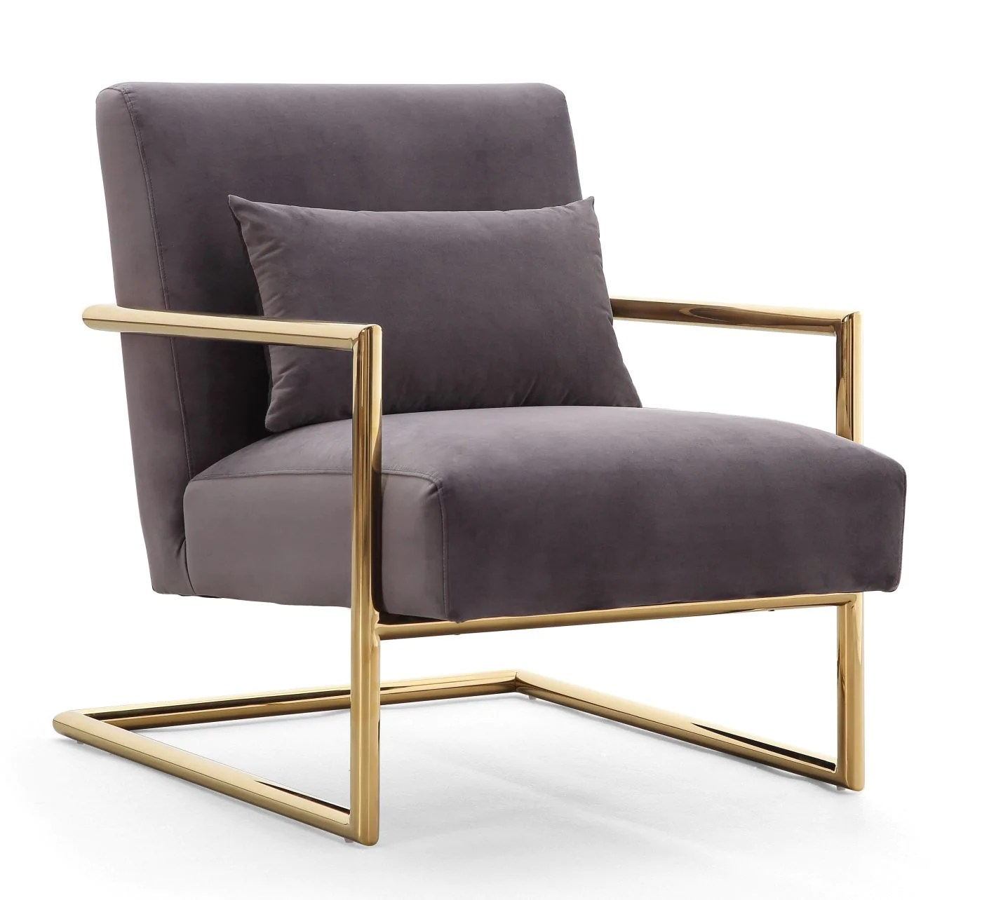 steel chair gold ozark trail folding buy tov furniture s6142 elle grey velvet stainless frame accent