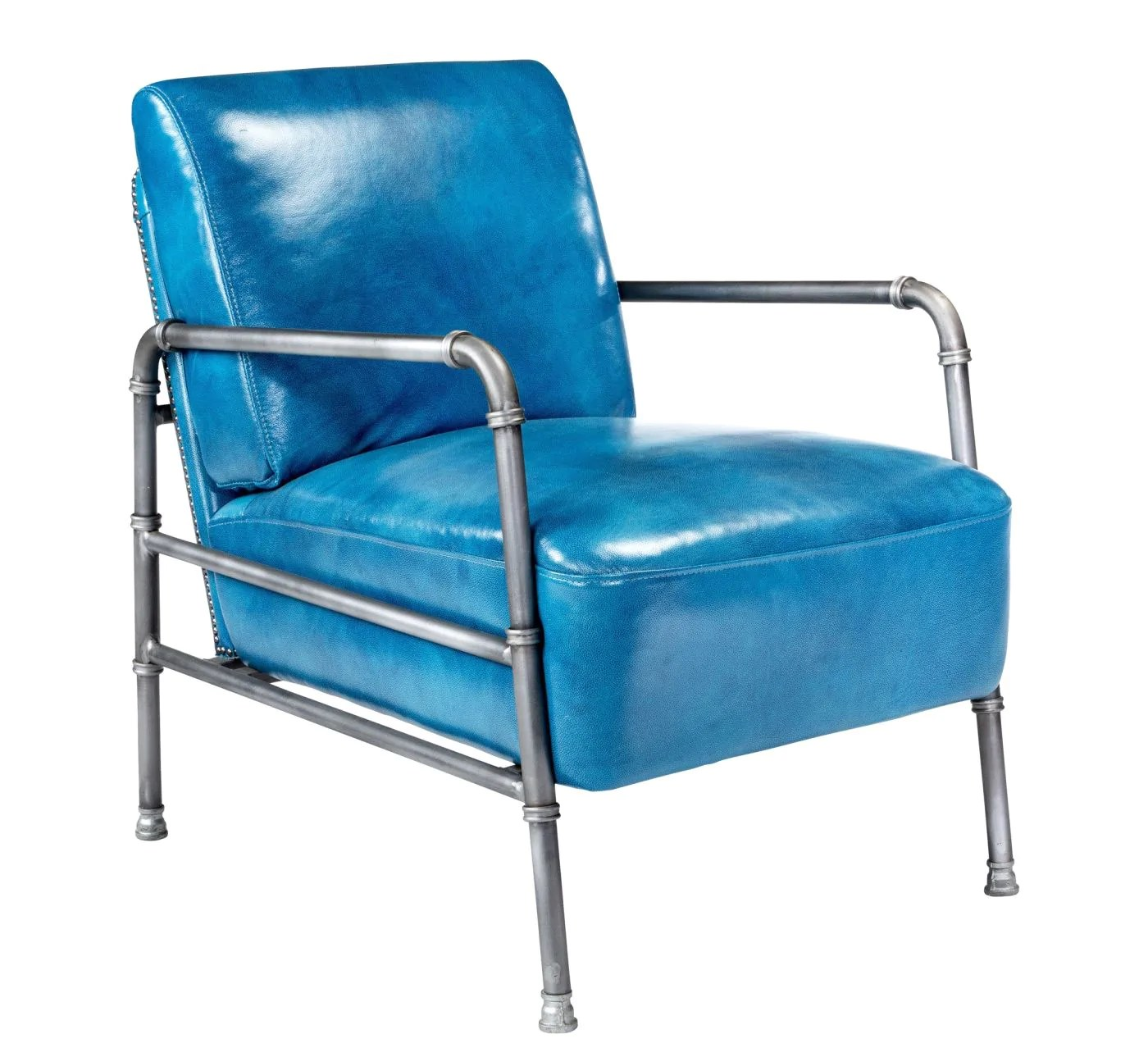 Blue Leather Club Chair Best Price On Moe 39s Home Collection Pk 1037 26 Royce Retro