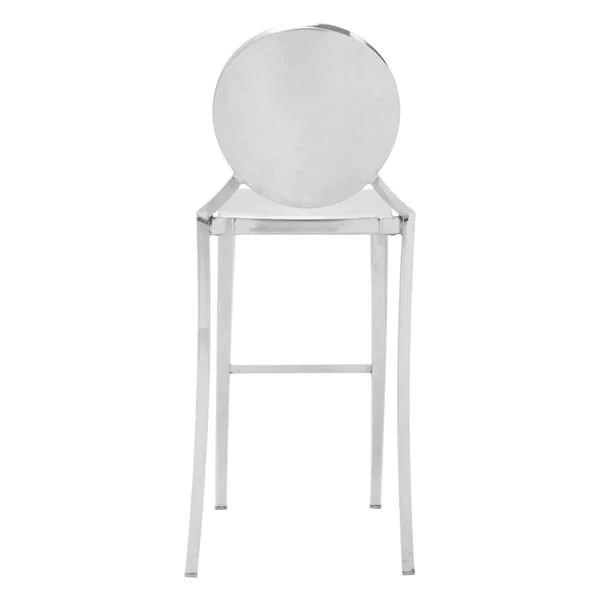 ghost bar chair hospital transport chairs amazing deal on zuo modern 100552 polished eclispe stainless steel set of 2