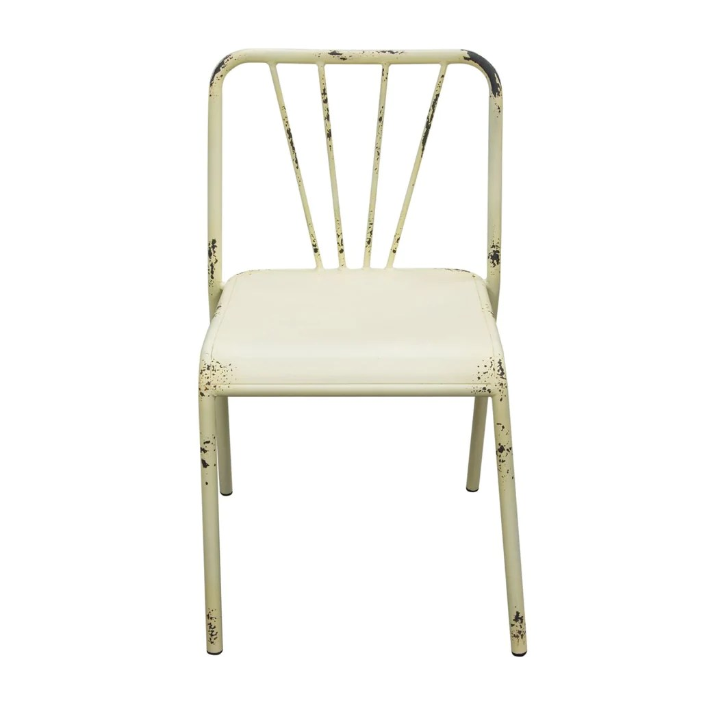 Antique White Dining Chairs Set Of 2 Mercer Vintage Metal Dining Chair In Antique White Finish