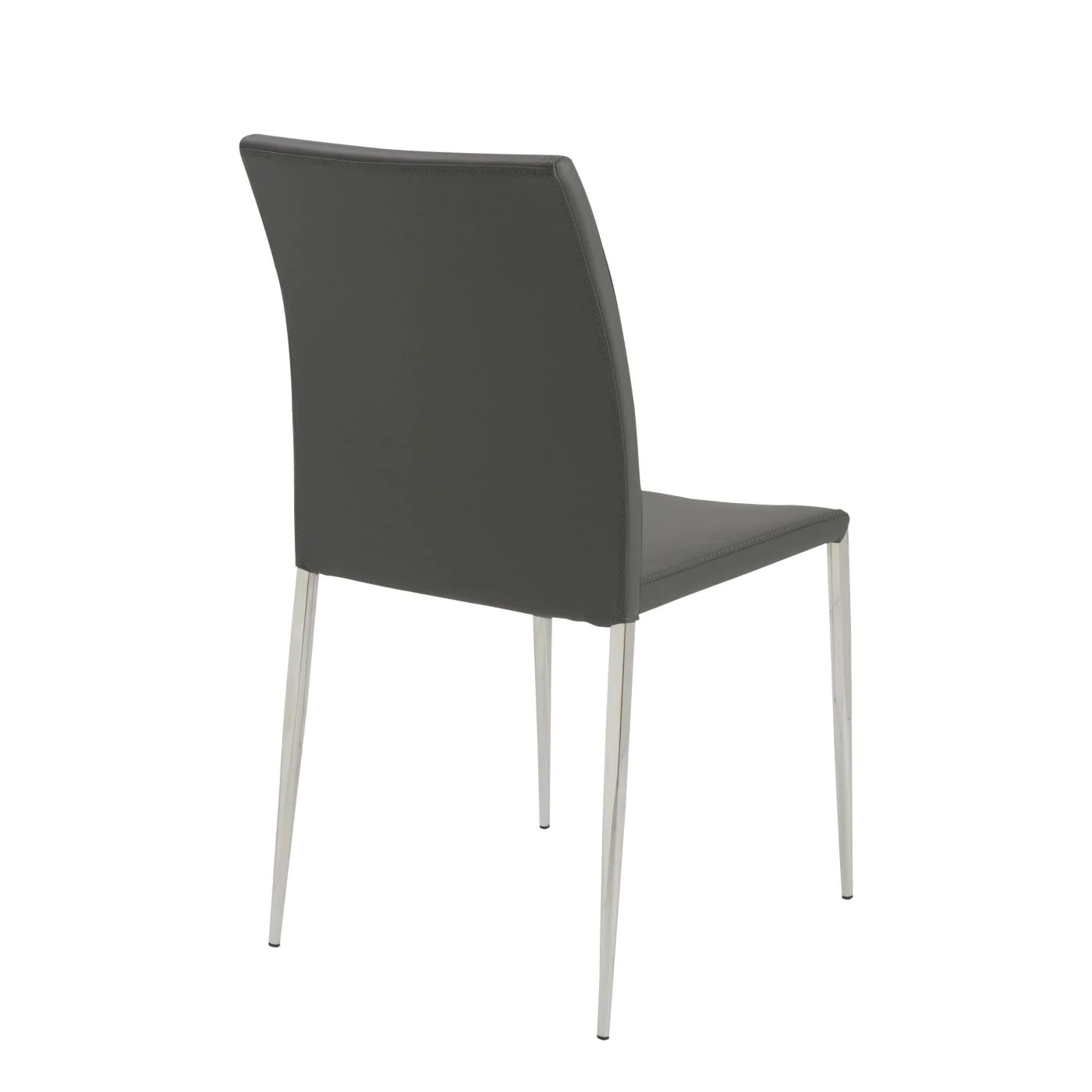 dining chairs with stainless steel legs narrow euro style diana stacking side chair in gray polished