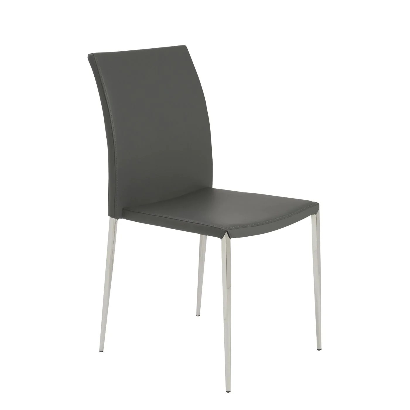 dining chairs with stainless steel legs black lacquer euro style diana stacking side chair in gray polished