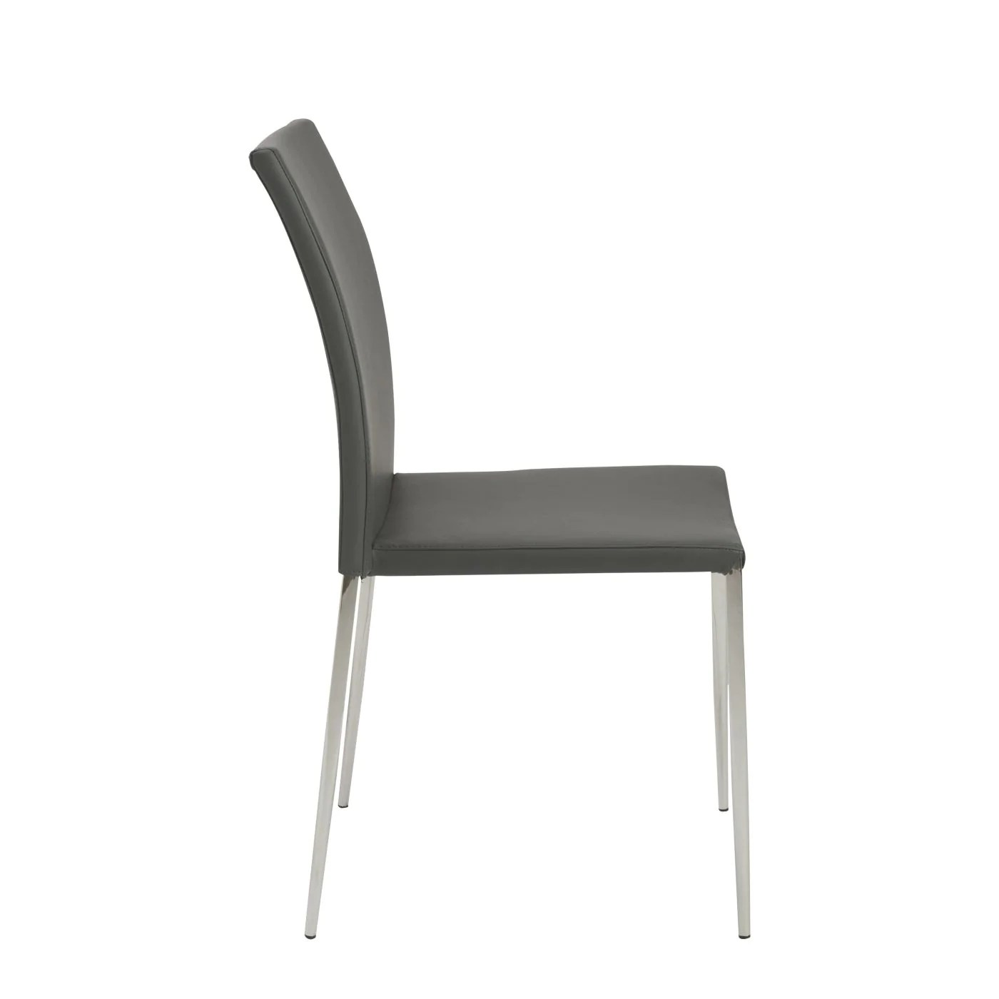 dining chairs with stainless steel legs office lowestoft euro style diana stacking side chair in gray polished