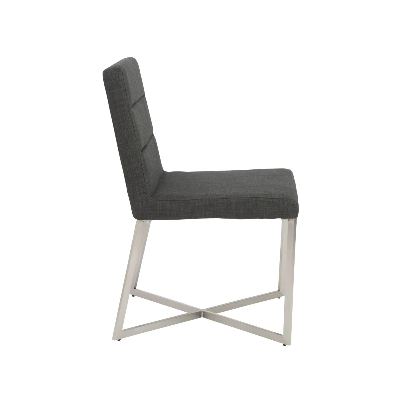 dining chairs with stainless steel legs danish for sale euro style 38619char tosca chair in charcoal