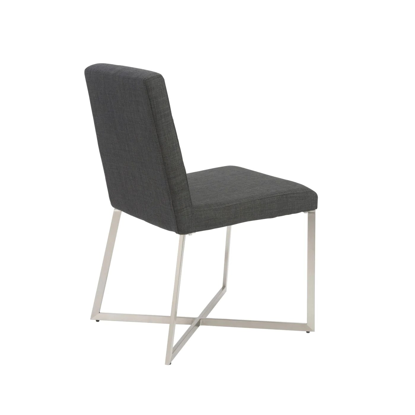 dining chairs with stainless steel legs contemporary white leather chair euro style 38619char tosca in charcoal