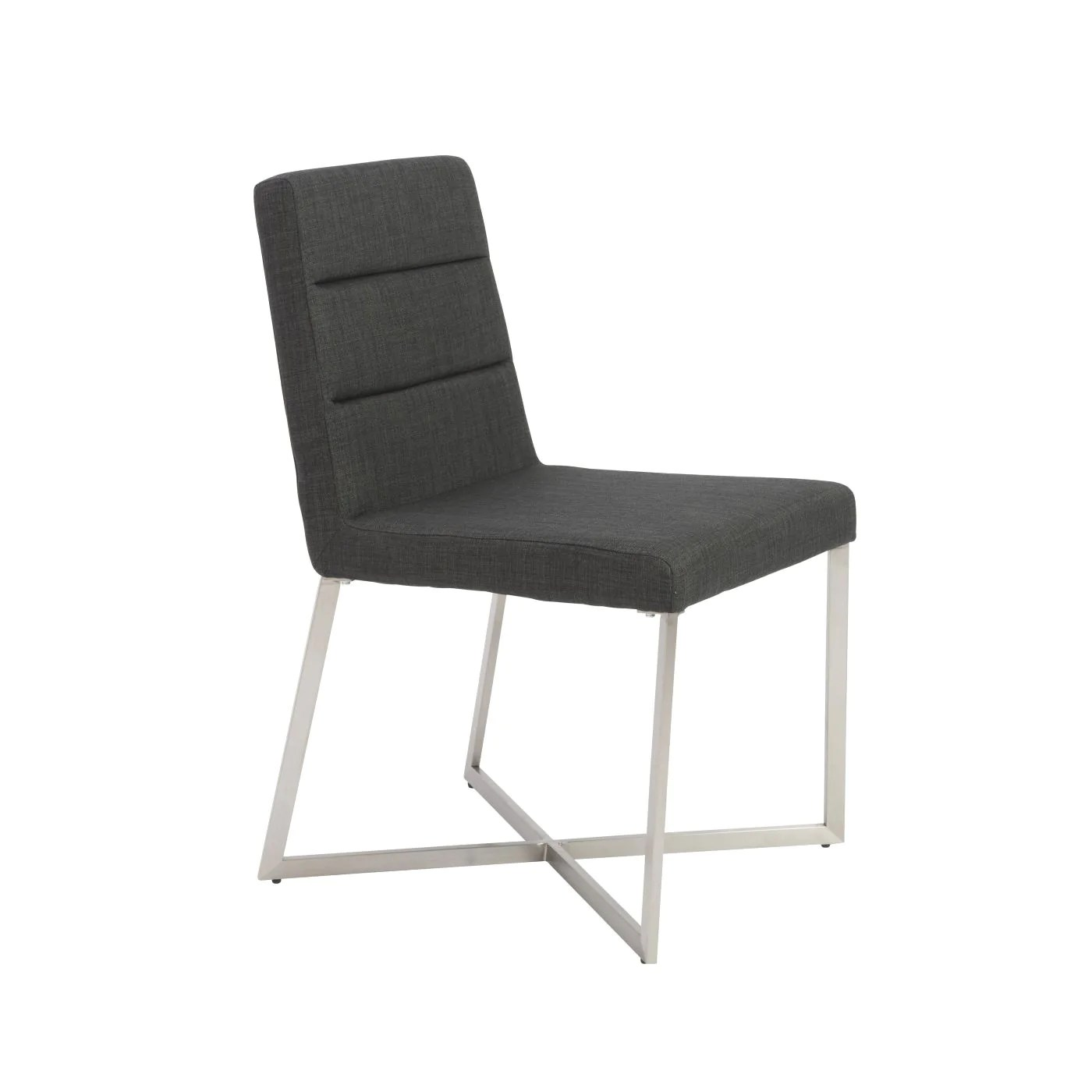 dining chairs with stainless steel legs sofa loveseat and chair euro style 38619char tosca in charcoal