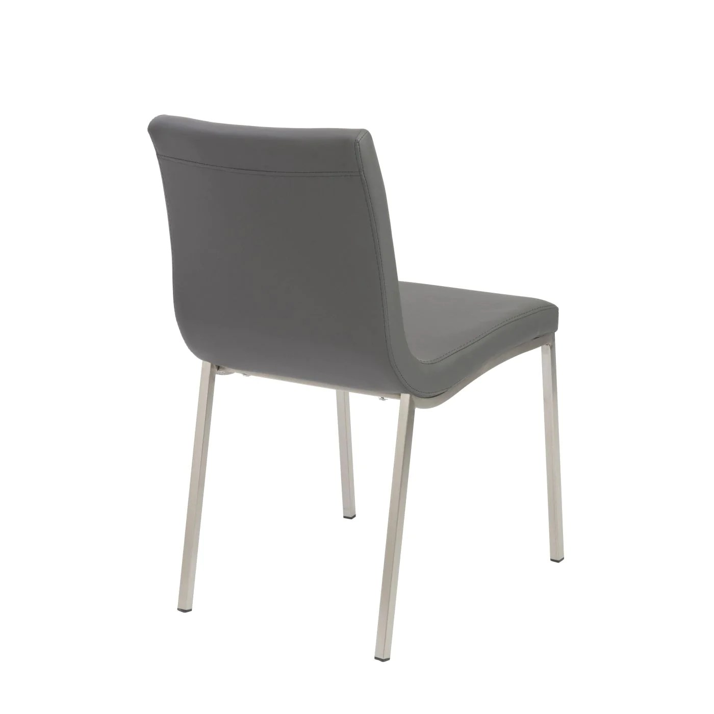 dining chairs with stainless steel legs chair covers dark grey euro style scott in gray brushed