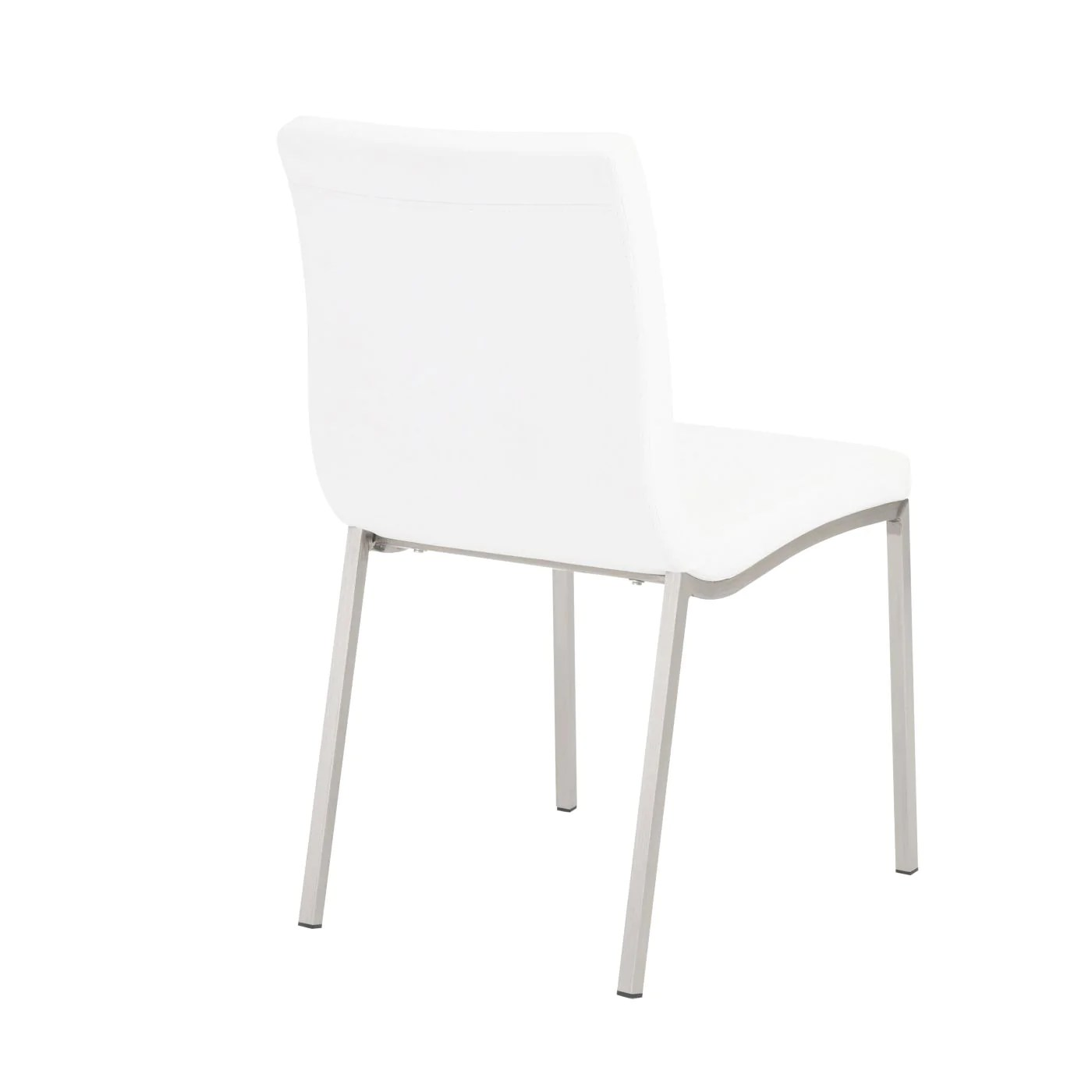 dining chairs with stainless steel legs restoration hardware chair cushions euro style scott in white brushed