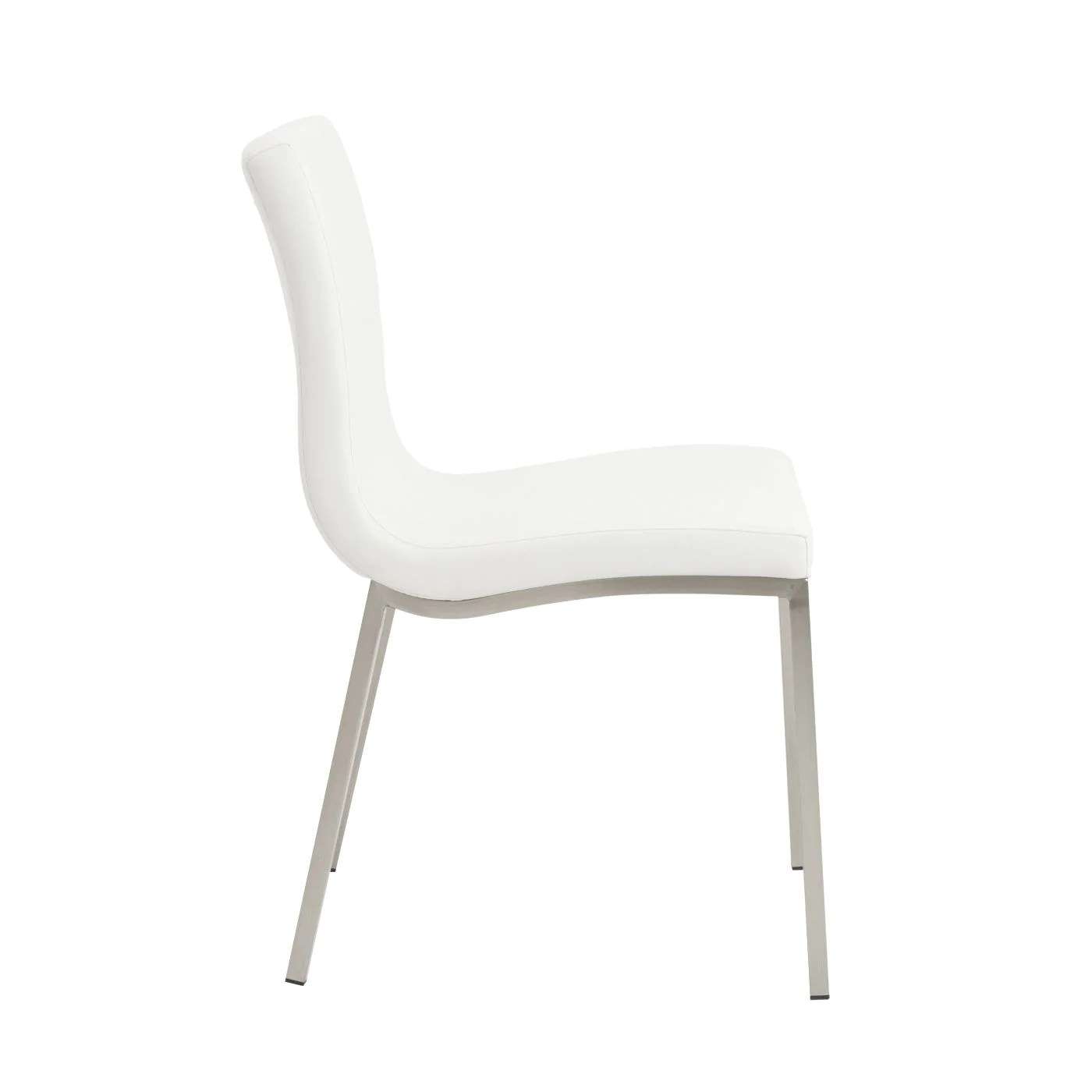 dining chairs with stainless steel legs chair cushion covers euro style scott in white brushed
