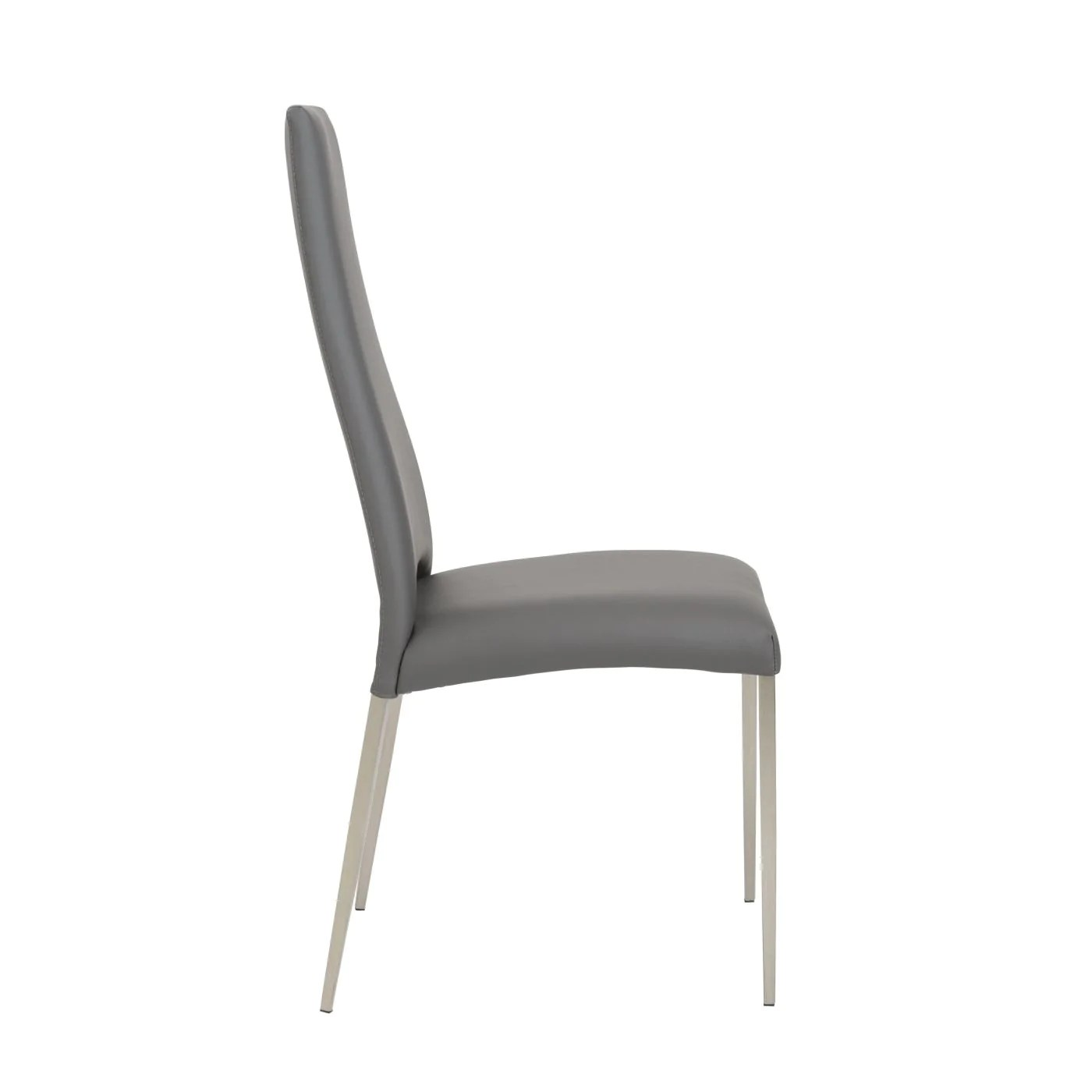 dining chairs with stainless steel legs swinging chair for bedroom euro style tara in gray leatherette brushed set of 4