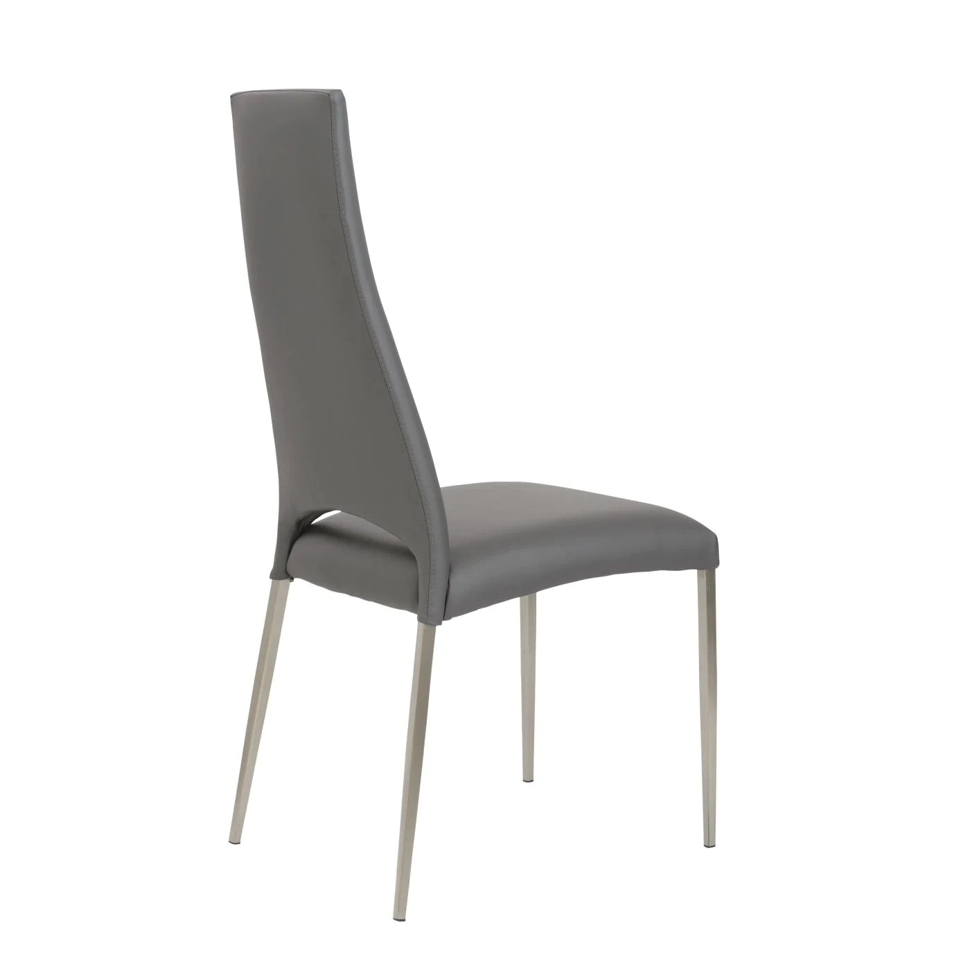 dining chairs with stainless steel legs twin bed chair euro style tara in gray leatherette