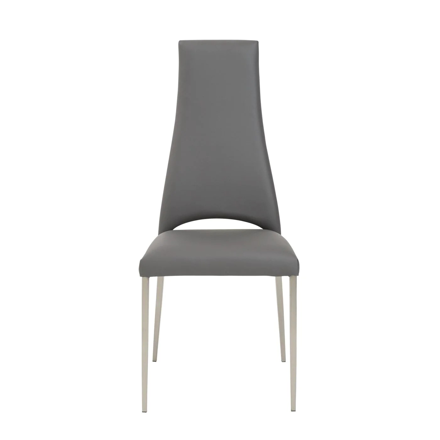dining chairs with stainless steel legs aluminum rocking patio euro style tara chair in gray leatherette