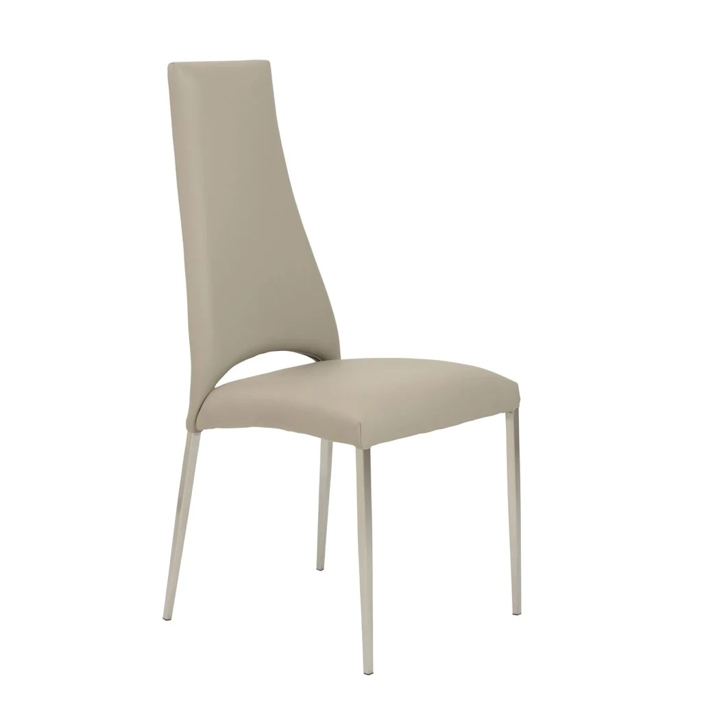 dining chairs with stainless steel legs low back chair covers australia euro style tara in taupe leatherette brushed set of 4 at contemporary furniture warehouse