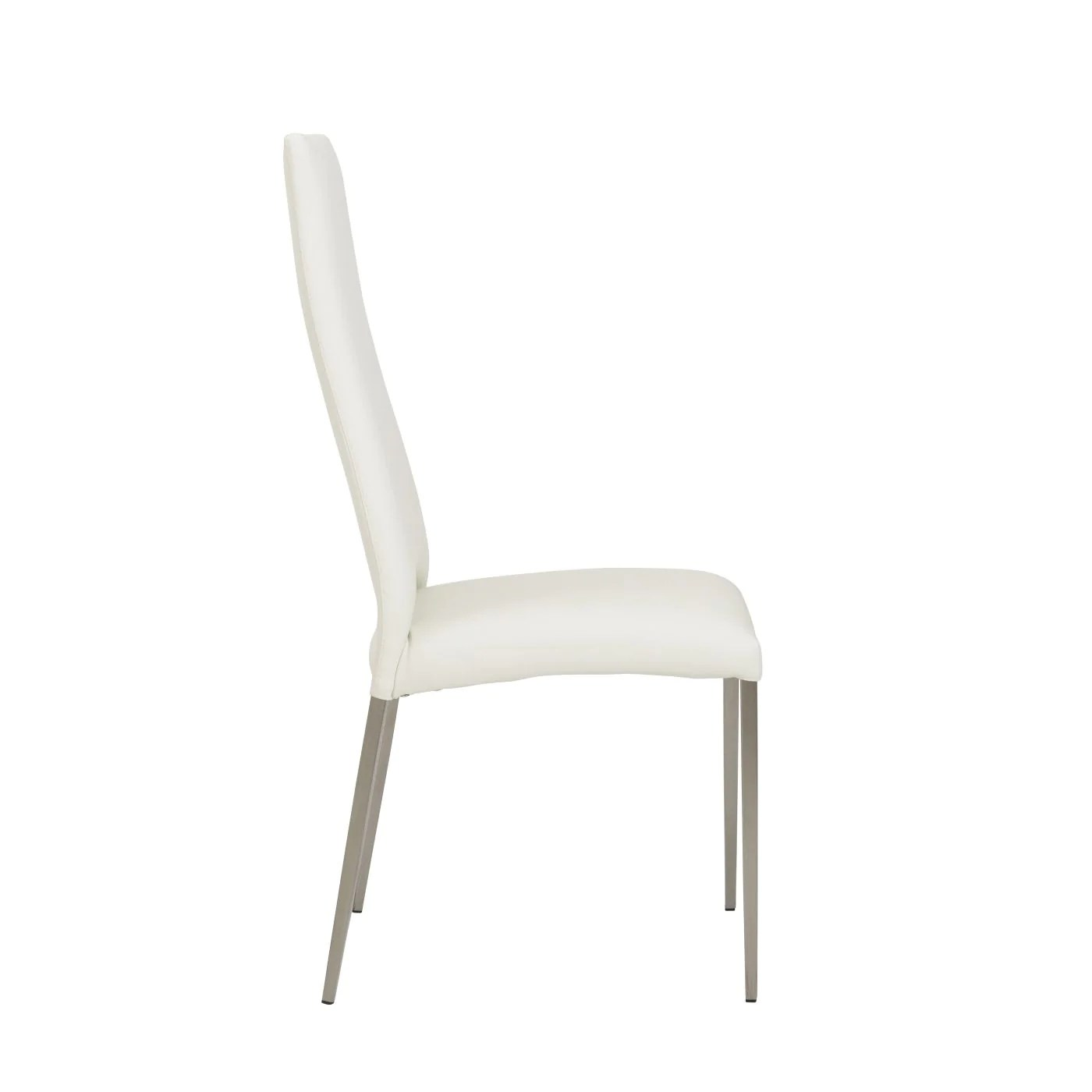 dining chairs with stainless steel legs pink sashes for euro style tara chair in white leatherette