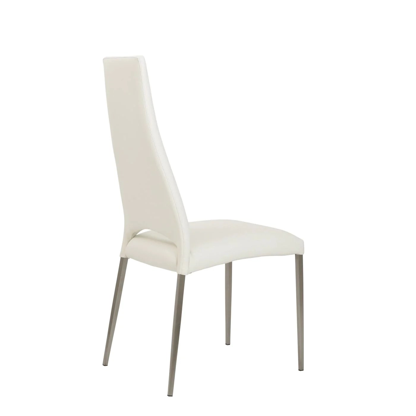 dining chairs with stainless steel legs childrens bean bag chair euro style tara in white leatherette