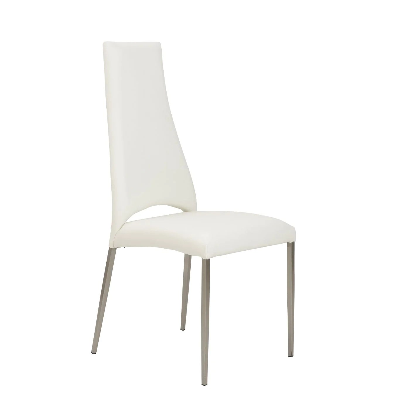 dining chairs with stainless steel legs teak shower chair euro style tara in white leatherette