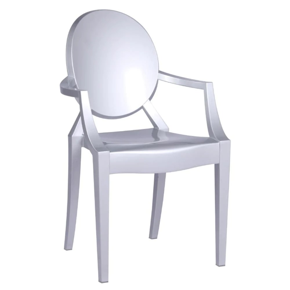 Silver Dining Chairs Clear Arm Chair Silver
