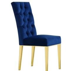 Gold Dining Chairs Living Room Swivel Upholstered Meridian Capri Navy Velvet Chair With Legs Set Of 2 At