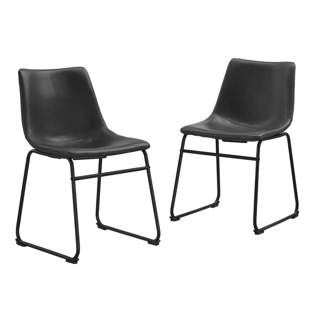 Black Leather Dining Chairs Industrial Vegan Leather Dining Chairs Black Set Of 2