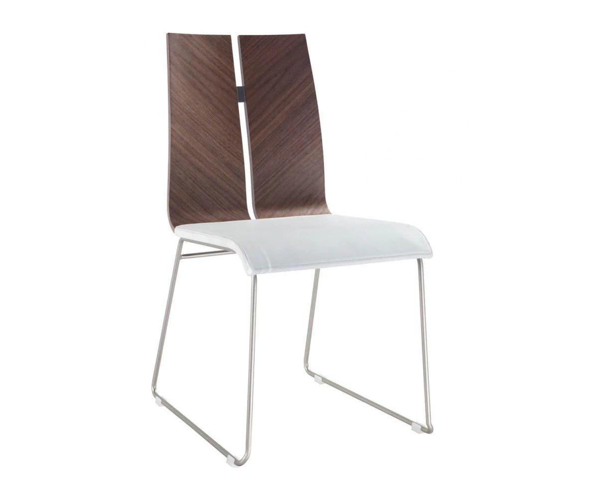 metal frame leather dining chair baby bath chairs whiteline lauren natural walnut veneer white
