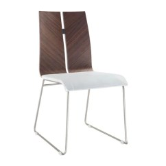 Metal Frame Leather Dining Chair Shabby Chic Office Whiteline Lauren Natural Walnut Veneer White Eco With Brushed Nickel