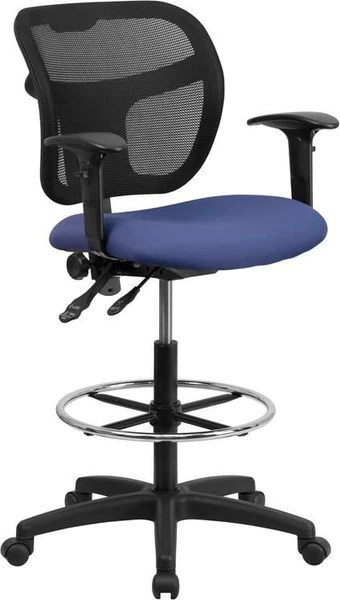 drafting chairs with arms tub chair stool underneath flash furniture mid back mesh black fabric seat and height adjustable