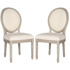 Safavieh Dining Chairs Swivel Chair Groupon Fox6228h Set2 Holloway Oval Side Light Beige Linen Set Of 2