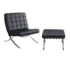 Tufted Chair And Ottoman Covers To Buy Wholesale Uk Diamond Sofa Cordoba 2pc Set W Stainless Steel Frame Black Lounge