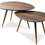 Maddox Mid Century Modern Nesting Coffee Table Set Walnut
