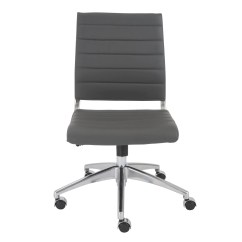 Chair Without Back Pvc Commode Axel Low Office Armrests In Gray With