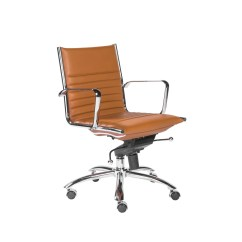 Office Chair Warmer Neutral Posture Review Euro Style Dirk Low Back In Cognac With