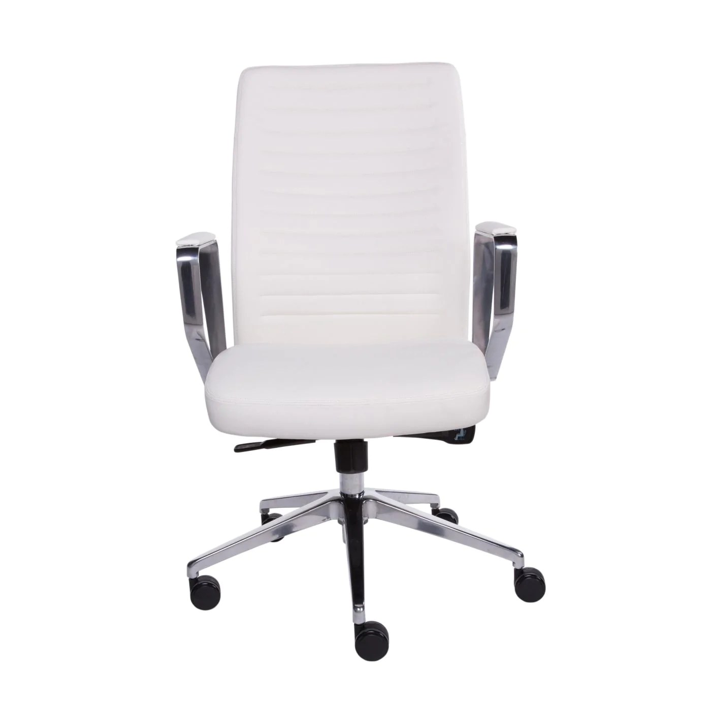 Low Back Office Chair Buy Euro Style Euro 90431wht Emory Low Back Office Chair In White And Polished Aluminum At Contemporary Furniture Warehouse